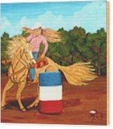 Barrel Racer Wood Print