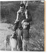 Barry Sadler With Sons And Family Collie Tucson Arizona 1971 Wood Print