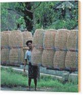 Basket Carrier In Bali Wood Print