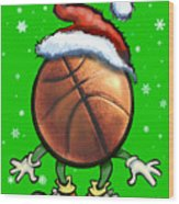 Basketball Christmas Wood Print