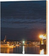 Bass Harbor At Night Wood Print