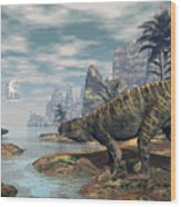 Batrachotomus Dinosaurs -3d Render Wood Print