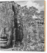 Bayon Faces  Wood Print