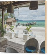 Beach Bar In Sok San Area Of Koh Rong Island Cambodia Wood Print