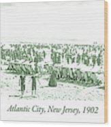 Beach, Bathers, Ocean, Atlantic City, New Jersey, 1902 Wood Print
