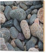 Beach Of Stones Wood Print