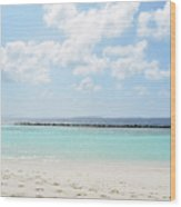 Beach On An Island In The Maldives With Turquoise Water Wood Print