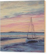 Beached At Sunset Wood Print