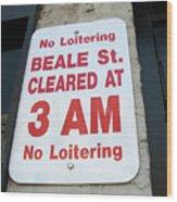 Beale Street Sign Wood Print