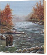Bear In Fall Wood Print