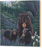 Bears On Snow Peak Painting Wood Print
