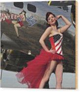 Beautiful 1940s Style Pin-up Girl Wood Print by Christian Kieffer