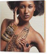 Beautiful African American Woman Wearing Jewelry Wood Print