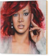 beautiful airbrush portrait of RihanA beautiful airbrush portrait of Rihanna with red hair and a fac Wood Print