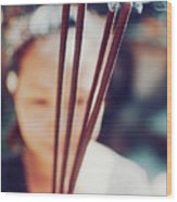 Beautiful Asian Woman Holding Incense Sticks During Hindu Ceremony In Bali, Indonesia Wood Print