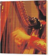 Beautiful Harp Player Wood Print