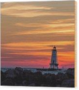 Beautiful Ludington Lighthouse Sunset Wood Print