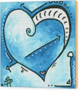Beautiful Original Acrylic Heart Painting From The Pop Of Love Collection By Madart Wood Print