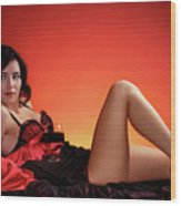 Beautiful Woman With A Glass Of Wine Wood Print