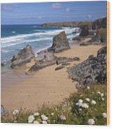 Bedruthan Steps Beach And Atlantic Surf In Summer Sun Cornwall  Wood Print
