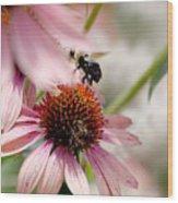 Bee Leaving Flower Wood Print