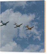 Beechcraft T-34 Mentor Airplane Trio 3 Wood Print