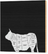 Beef Cuts Shown On The Side Of A Cow.  Wood Print