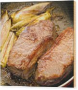 Beef Tenderloins With Endives Wood Print