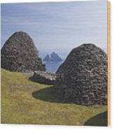 Beehive Stone Huts, Skellig Michael, County Kerry, Ireland Wood Print