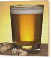 Beer In Glass Wood Print