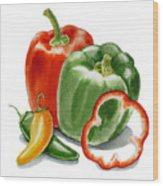 Bell Peppers Jalapeno Wood Print