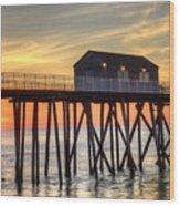 Belmar Fishing Pier Sunrise Wood Print