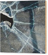 Belmont Cracked Window And Shadow 1599 Wood Print