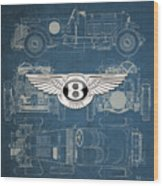 Bentley - 3 D Badge Over 1930 Bentley 4.5 Liter Blower Vintage Blueprint Wood Print