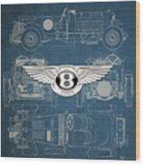 Bentley - 3 D Badge over 1930 Bentley 4.5 Liter Blower Vintage Blueprint Wood Print