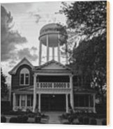 Bentonville Arkansas Water Tower - Black And White Wood Print