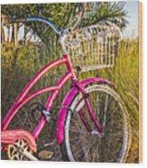 Bicycle At The Beach II Wood Print