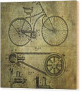 Bicycle Patent From 1890 Wood Print