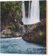 Big Island Waterfall Wood Print