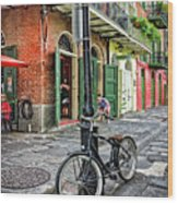 Bike And Lamppost In Pirate's Alley Wood Print
