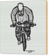 Biking Man Wood Print