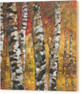 Birch Trees In Golden Fall Wood Print