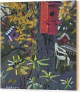 Birdhouses And Chairs Wood Print