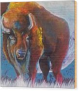 Bison Moon Wood Print