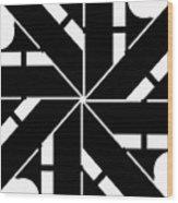 Black And White Geometric Wood Print