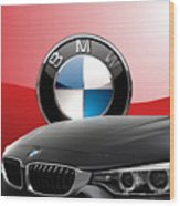 Black B M W - Front Grill Ornament And 3 D Badge On Red Wood Print by Serge Averbukh