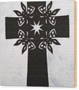 Black Butterfly-cross Wood Print