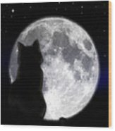 Black Cat And Full Moon Wood Print