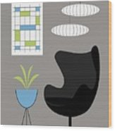 Black Egg Chair Wood Print
