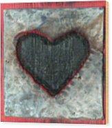 Black Heart Wood Print by Jane Clatworthy